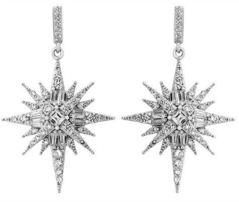 Diamonart 2 CT. T.W. White Cubic Zirconia Sterling Silver Star Drop Earrings