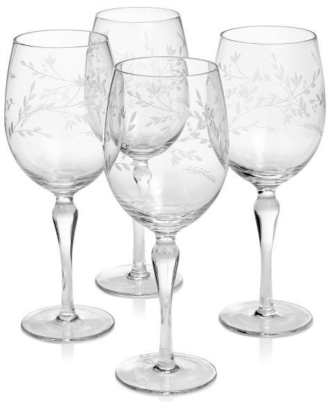 Etched Floral Wine Glasses, Set of 4 Created for Macy's