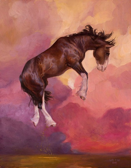 Horse pink canvas print clydesdale