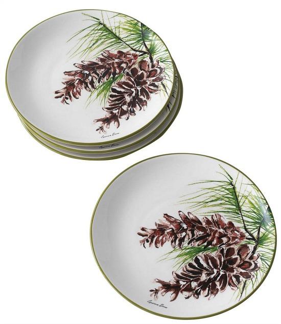 Pinecone Ceramic Salad Plate Set of 4