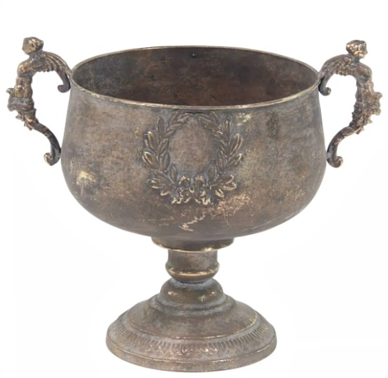 Rustic Tarnished Brass Iron Chalice-Style Urn Planter Yellow - Olivia & May
