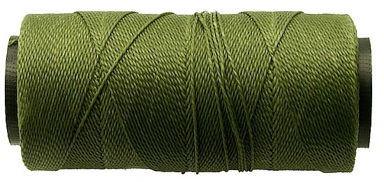 Olive Green: 2-ply Waxed Polyester Cord, ~ 1mm, pack of 25 feet