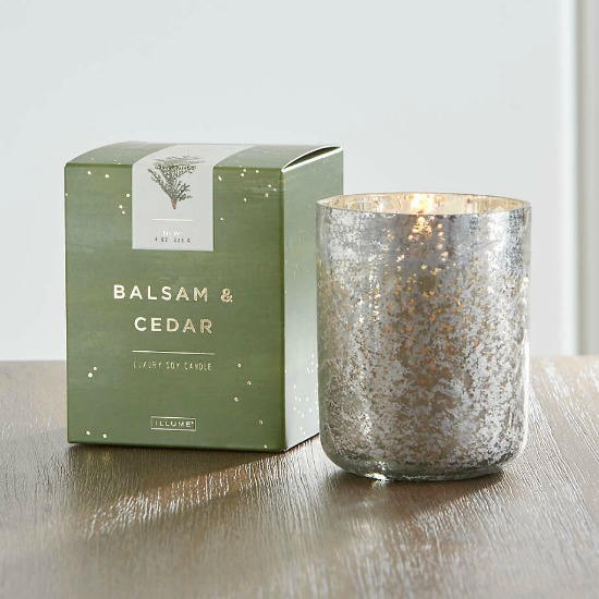 ILLUME ® Balsam and Cedar Scented Mercury Glass Candle