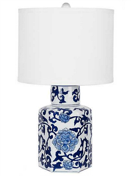 Blue and White Roses Ceramic Table Lamp