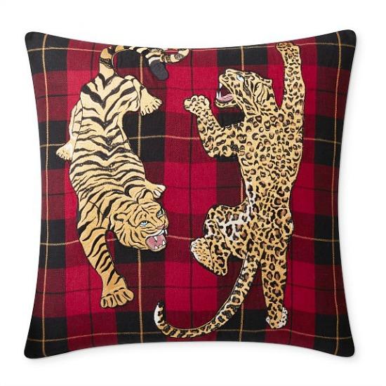 Embroidered Animal Woven Tartan Pillow Cover, Halden