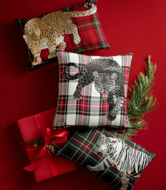 panther-embroidered-tartan-pillow-cover-red-stewart