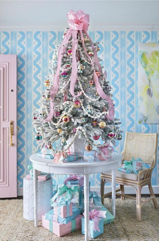 pink pastel Christmas tree