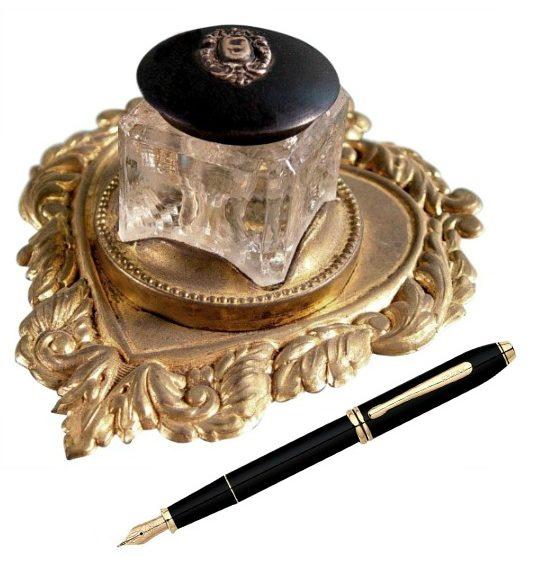 Brass Heart Shape Ink Well & Stand Circa 1900