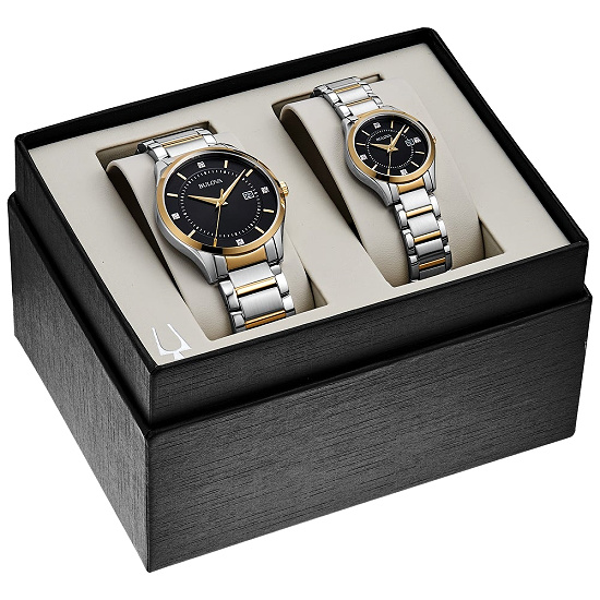 Bulova 98X123 Men's and Ladies Stainless Diamond Accent Black Dial Bracelet Watch Boxed Gift Set - Two-Tone
