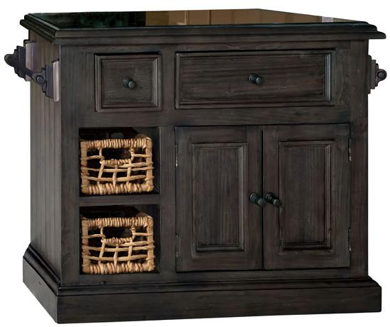 Hillsdale Furniture Weathered Grey Wood Granite Top Kitchen Island with 2 Baskets
