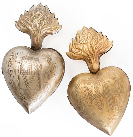 Large Gold Heart Shaped Milagro Box