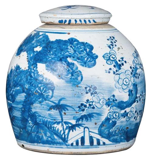 Vintage Ming Jar Pine Motif