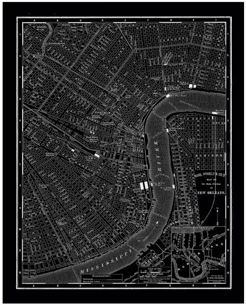 New Orleans 1985 Vintage Map Canvas Art Print