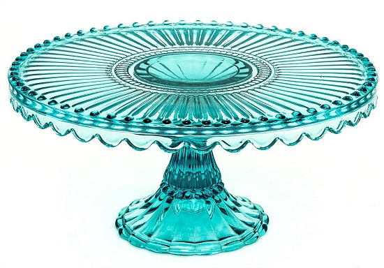 """Loire Glass Round 7.75"""" Cake Stand, Blue"""