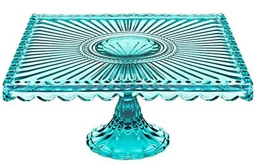 Loire Glass Square Cake Stand Blue