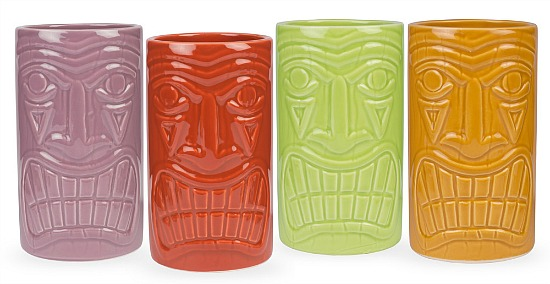 Beachcomber Ceramic Tiki Mugs - 16 oz - Set of 4