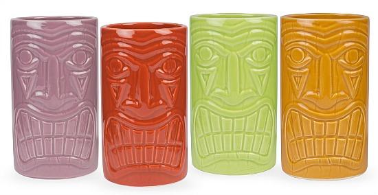 Beachcomber Ceramic Tiki Mugs - 16 oz - Set of 4