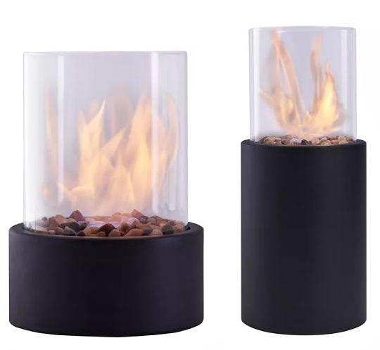 Ventless Smokeless Glass & Black Metal Column Tabletop Fire Pit