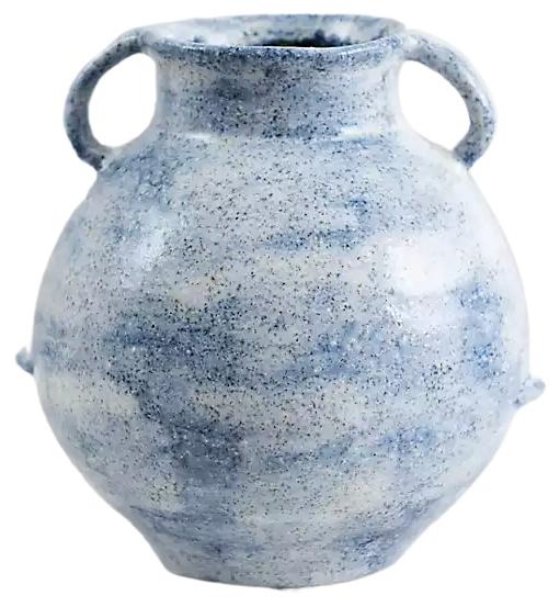 Blue Organic Ceramic Handle Jug Vase