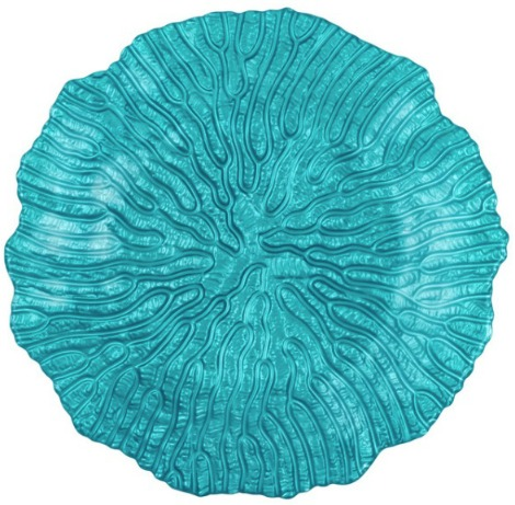 Hand Painted Coral Embossed Glass Side Plate, Aqua, Set of 2