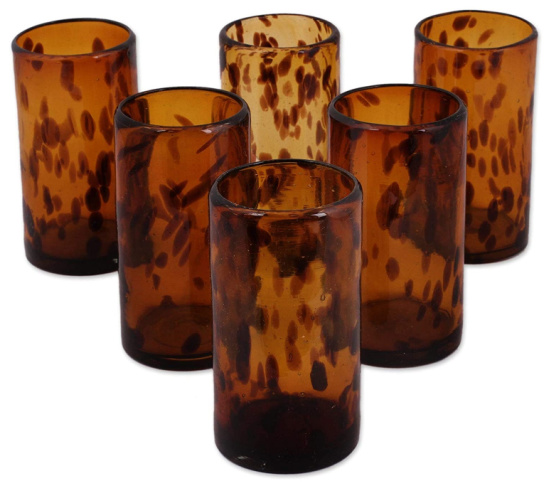 Handmade Glass Tall Tortoise Shell Drinking Glasses (Set of 6)