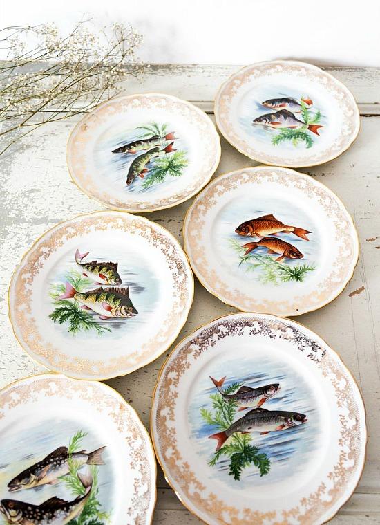 Limoges Fish Plates Vintage French Plate Set