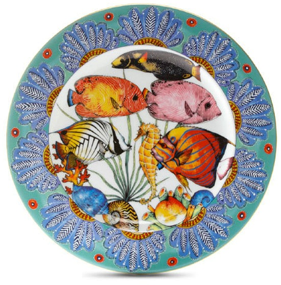 Penzo Dinner Plate Feathers with gold rim