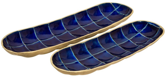Decorative-Tortoise-Shell-Metal-Plates,-Blue