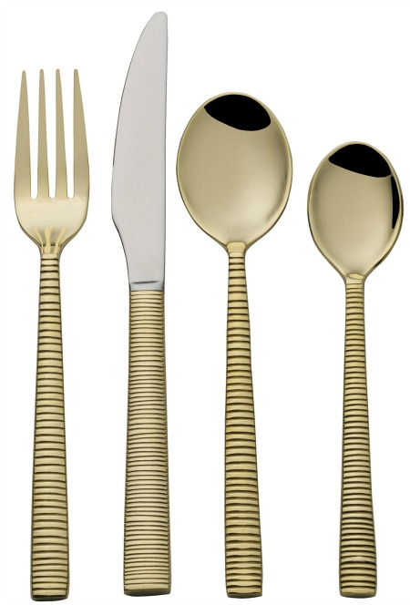 Towle Living Abbott Gold Plated Forged 16-Piece Flatware Set