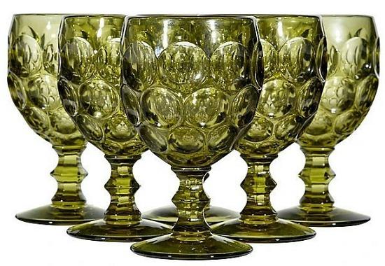 Vintage Glass Goblet Set of Six