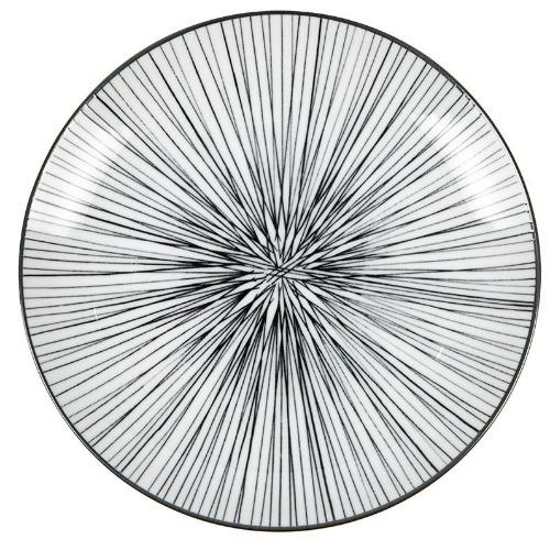 Nippon Black Dessert Plate - Lines
