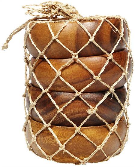 Acacia Wood 4-Piece Calabash Bowl Set