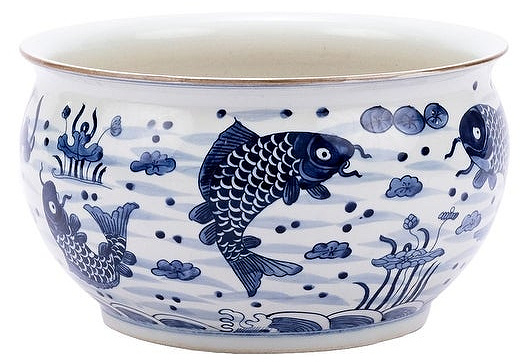 Handmade Fish Motif Orchid Bowl