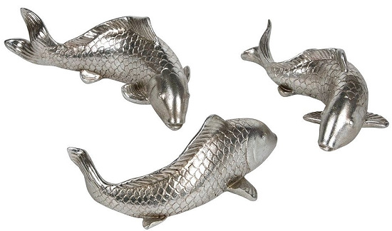 Silver Resin Decorative Koi Fish Statue