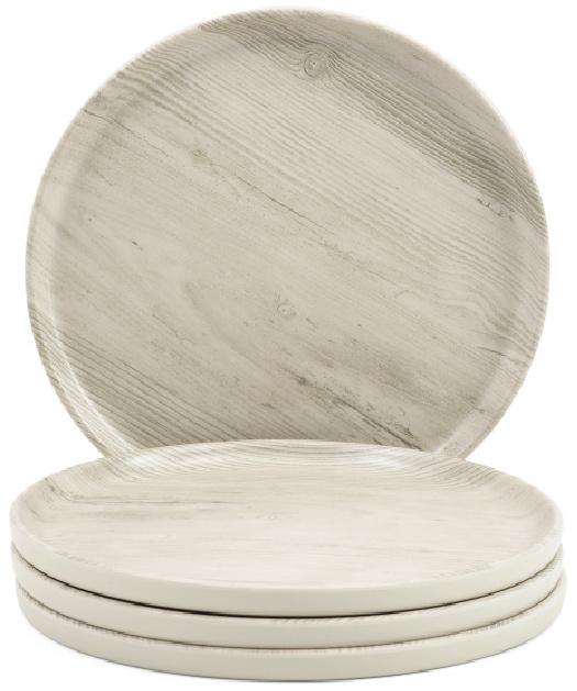 Set Of 4 Outdoor Woodgrain Dinner Plates