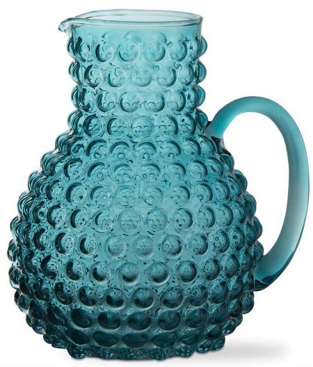 Aqua Hobnail Glass Pitcher
