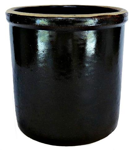 Antique Brown Round Ceramic Stoneware Crock