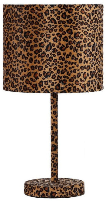 Fabric Wrapped Table Lamp with Dotted Animal Print, Brown and Black