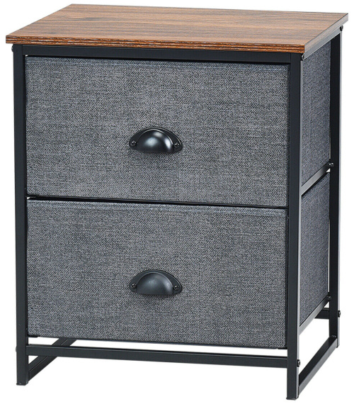 Gymax-2-Drawers-Nightstand-Side-Table-Storage-Unit-Display-Metal-Frame-Dorm-Room