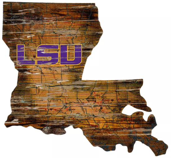 NCAA LSU Tigers 12 State Map Wood Sign