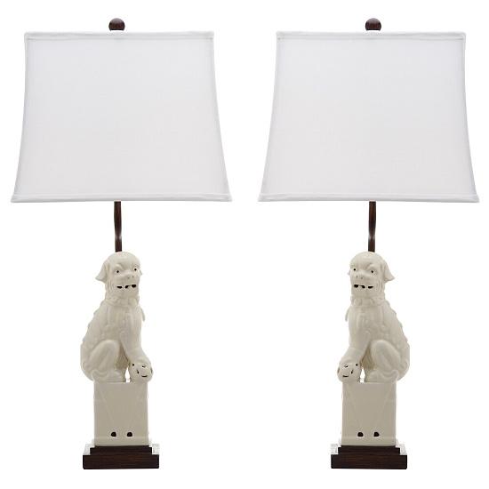 "SAFAVIEH Lighting 28-inch Cream Foo Dog Table Lamp (Set of 2) - 14""x9""x28.5"""