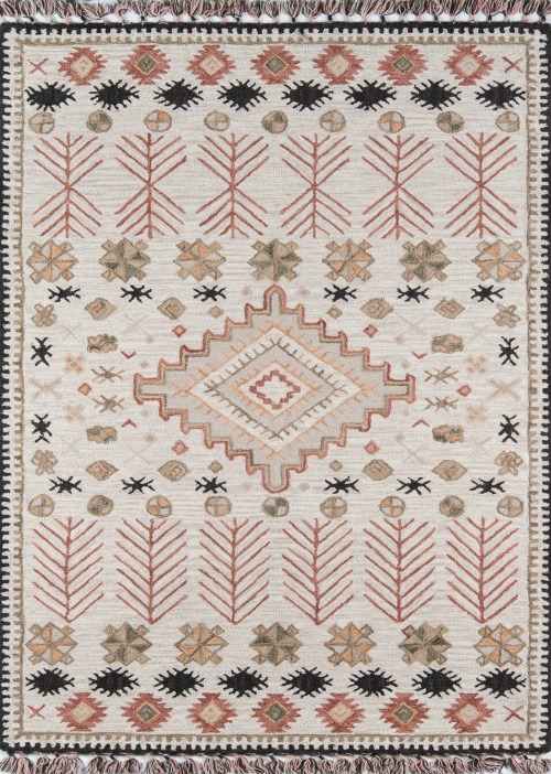 Wolken Southwestern Handmade Hooked Wool Pink/Beige Area Rug