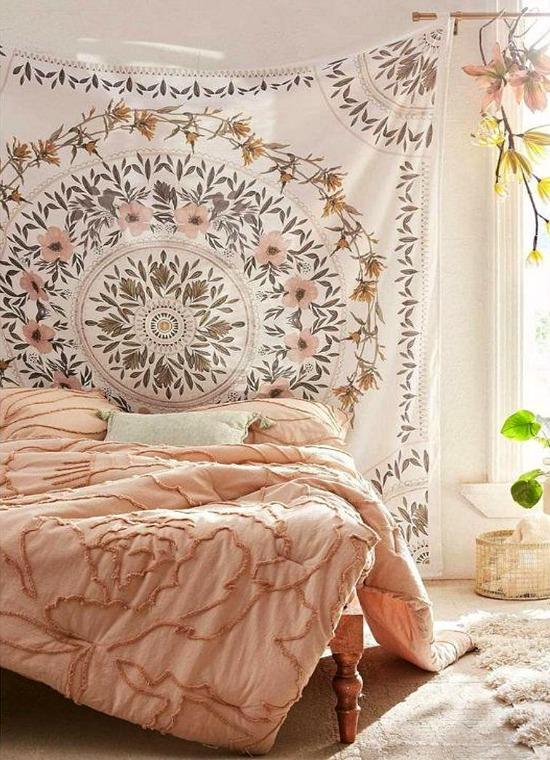 Sketched Floral Medallion Tapestry
