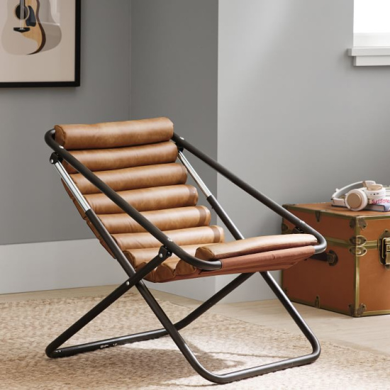 Channeled Sling Chair - Vegan Leather