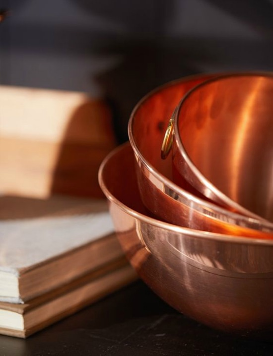 copper bowls stacked