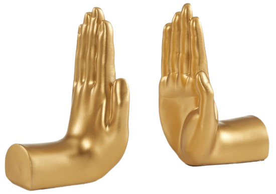 """Gold """"Hands"""" Bookend Set of 2"""