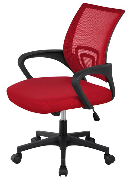 mesh-office-chair-computer-chair-rolling-red-on-casters