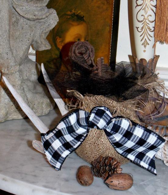 burlap-wrapped-pumpkin-buffalo-check-ribbon