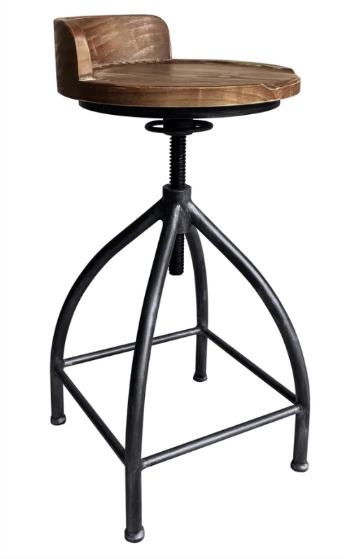 Cypress Industrial Adjustable Metal Barstool in Silver Brushed Gray with Brown Wood Seat