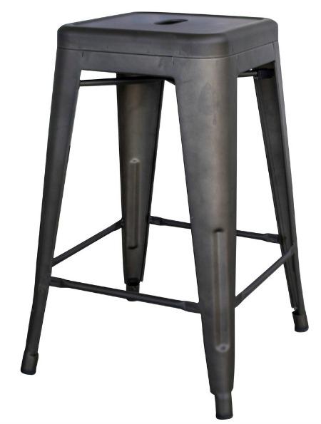 Carbon Loft Tilton 24-in Rustic Gunmetal Bar Stool